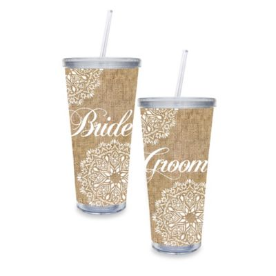 Bride & Groom Burlap 20 oz. Extra Large Acrylic Cups