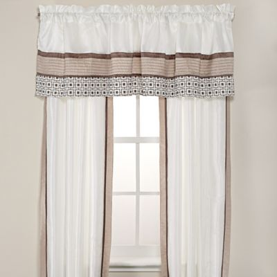 Catalina Window Valance in Taupe/Ivory