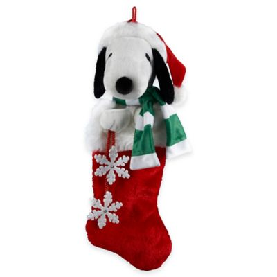 Kurt Adler Snoopy Head with Snowflake Dangles Stocking