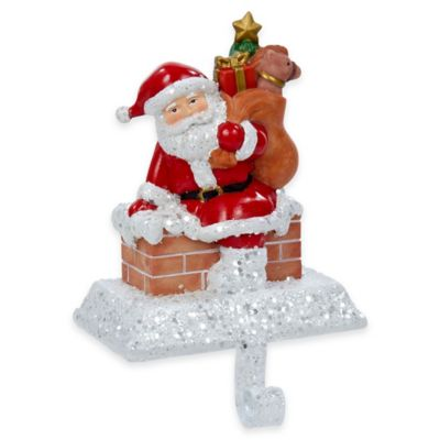 Kurt Adler 6.5-Inch Santa with Gift Box Stocking Holder