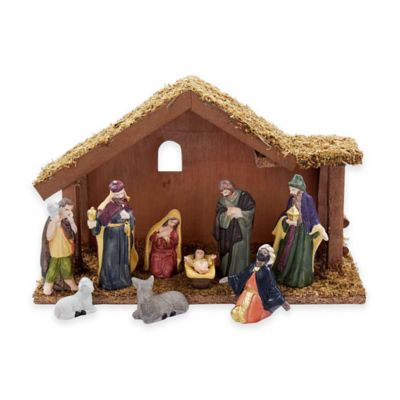 Kurt Adler 10-Piece Nativity Set with Stable
