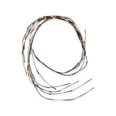 Kurt Adler 6-Foot Brown Twig Pre-Lit Garland with White Lights
