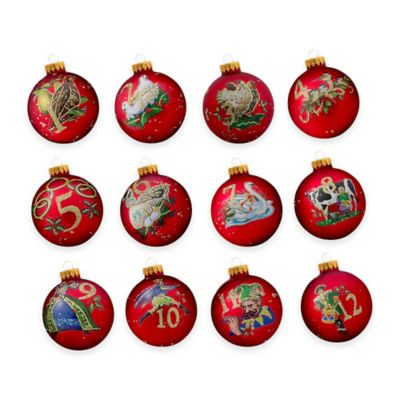 Kurt Adler 12 Days of Christmas Glass Ornaments (Set of 12)