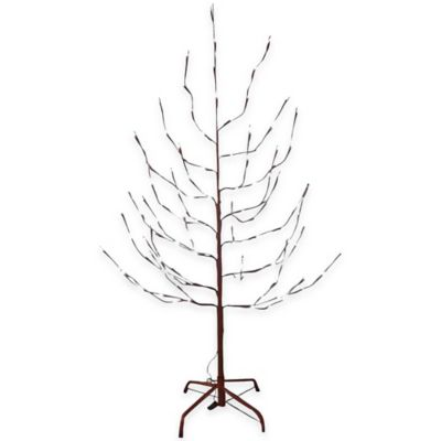 Kurt Adler 4-Foot Pre-Lit Artificial Brown Twig Tree with White LED Lights
