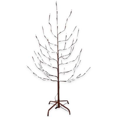 Kurt Adler 6-Foot Pre-Lit Artificial Brown Twig Christmas Tree with White LED Lights