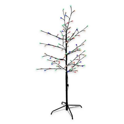 Kurt Adler 4-Foot Pre-Lit Gumball Brown Twig Christmas Tree with Multicolored LED Lights