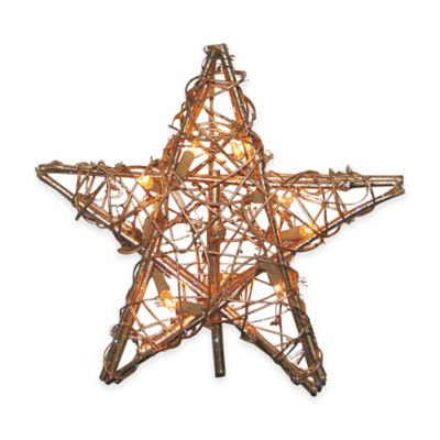 Kurt Adler 12-Inch 10-Light Rattan Gold Star Tree Topper