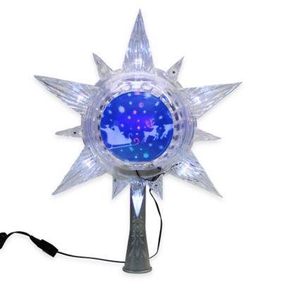 Kurt Adler 11-Inch Plastic Revolving Globe Treetopper with 6 White LED Lights