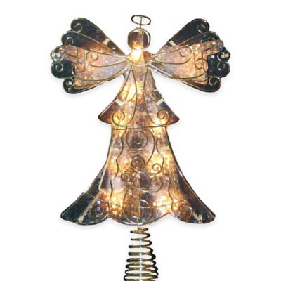 Kurt Adler 10-Inch Reflector Angel Lit Tree Topper in Gold
