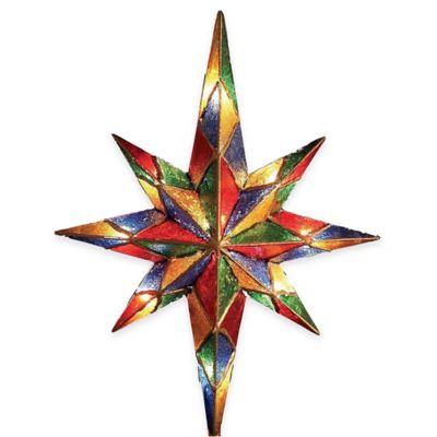 Kurt Adler 12-Inch 10-Light Mosaic Bethlehem Star Tree Topper
