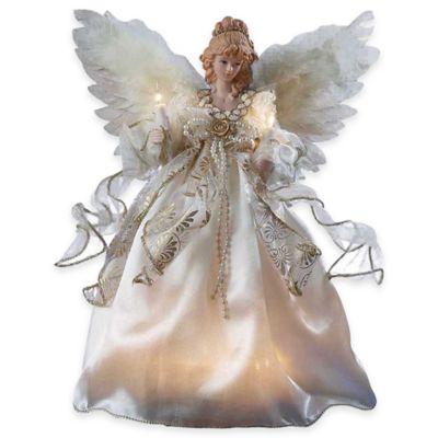 Kurt Adler 12-Inch 10-Light Angel Tree Topper in Gold and Ivory