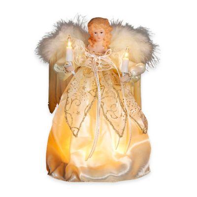 Kurt Adler 9-Inch 10-Light Angel Tree Topper in Gold and Ivory