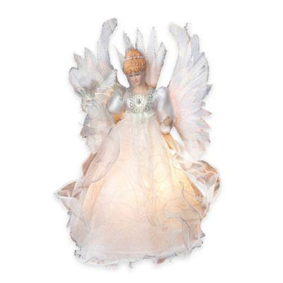 Kurt Adler 14-Inch Fiberoptic Angel Tree Topper in White
