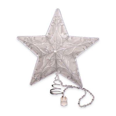 Kurt Adler 15-Inch 10-Light Snowfall Star Tree Topper in Silver