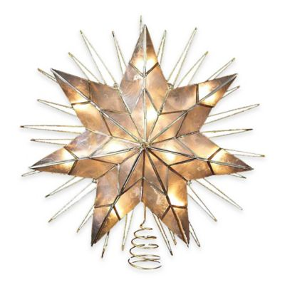Kurt Adler 14-Inch Lighted 7-Point Capiz Wire Star Treetop