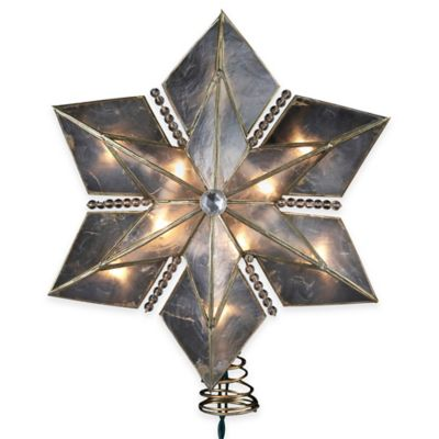 Kurt Adler 9-Inch 10-Light Capiz Wire Snowflake Star Tree Topper