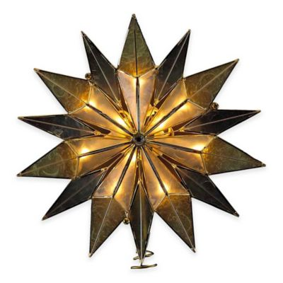 Kurt Adler 9-Inch Capiz 14-Point Lit Star Tree Topper in Smoke with 10 Clear Lights