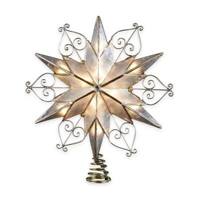 Kurt Adler 9.5-Inch 10-Light Capiz Star Tree Topper with Gem