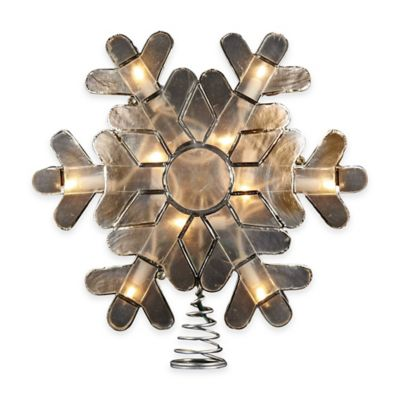 Kurt Adler 9 Inch Capiz Snowflake Tree Topper with 10 Clear Lights