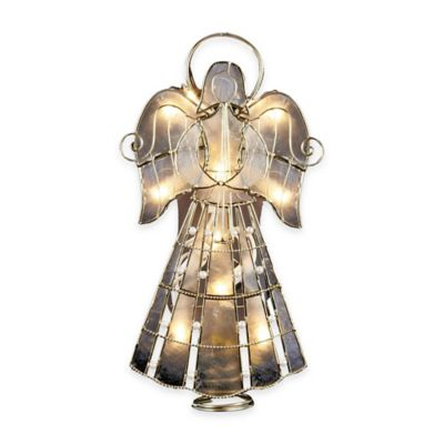 Kurt Adler 9.5-Inch 10-Light Capiz Twisted Wire and Scroll Angel Tree Topper