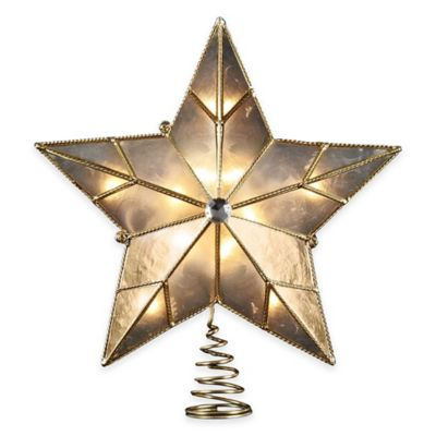 Kurt Adler 10.25-Inch 10-Light Capiz Star Tree Topper with Wire Border