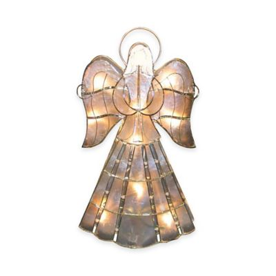 Kurt Adler 16-Inch 10-Light Capiz Angel Tree Topper with Vines and Pearls