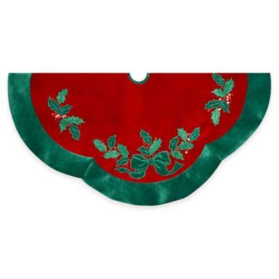 Kurt Adler 48-Inch Red with Green Leaf Applique Velvet Tree Skirt