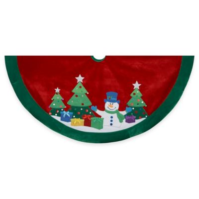 Kurt Adler 48-Inch Snowman and Trees Applique Embroidered Tree Skirt in Red/Green