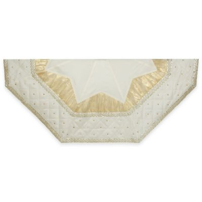 Kurt Adler 52-Inch Quilted Border Hexagonal Tree Skirt in Ivory/Gold
