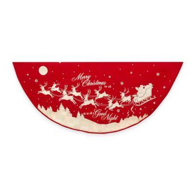 Kurt Adler 48-Inch Reindeer and Santa Printed Tree Skirt in Red