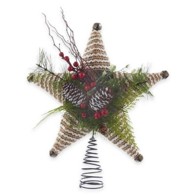 Kurt Adler 12-Inch Rope Star Tree Topper with Pinecones