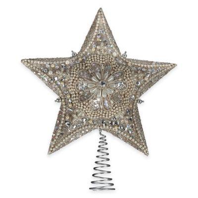 Kurt Adler 13.5-Inch Glitter Beaded Star Tree Topper in Platinum