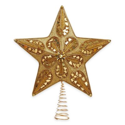 Kurt Adler 13.5-Inch Glitter Beaded Star Tree Topper in Gold