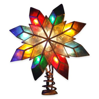 Kurt Adler 8.5-Inch Capiz 8-Point Multicolored Star Tree Topper with 10 Lights
