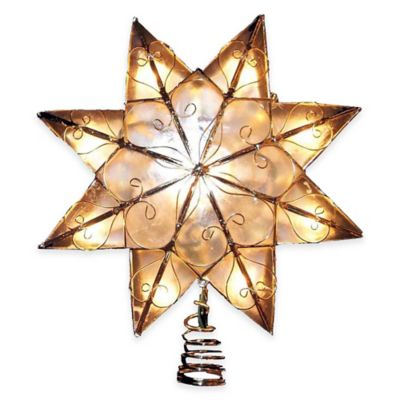 Kurt Adler 8.5-Inch Capiz 8-Point Lit Star Tree Topper