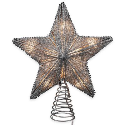 Kurt Adler 10-Inch Metal Star Tree Topper In Silver with 10 Mini Lights