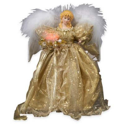Kurt Adler 14-Inch Fabmache Fiberoptic Angel Tree Topper in Gold