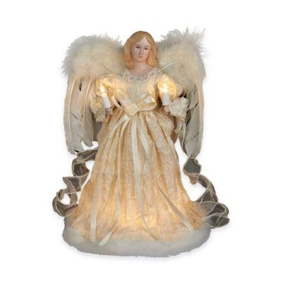 Kurt Adler 12-Inch 10-Light Angel Tree Topper in Ivory