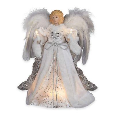 Kurt Adler 10-Light Angel Treetop in White/Silver