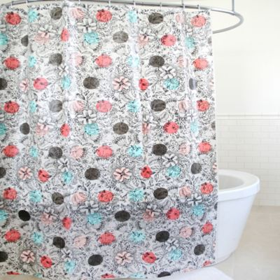 Geolush PEVA Shower Curtain in Coral