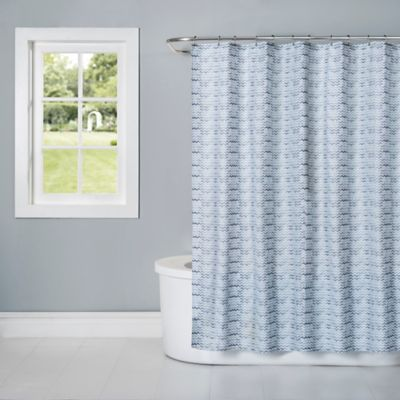 Cotton Blue Fabric Shower Curtain