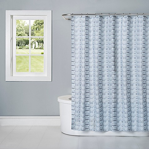 Watercolor Cotton Fabric Shower Curtain In Aquatic Blue