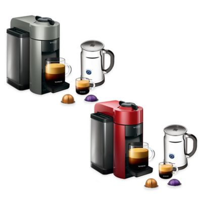 Nespresso® VertuoLine Evoluo Coffee/Espresso Maker in Cherry Red with Aeroccino Plus Frother