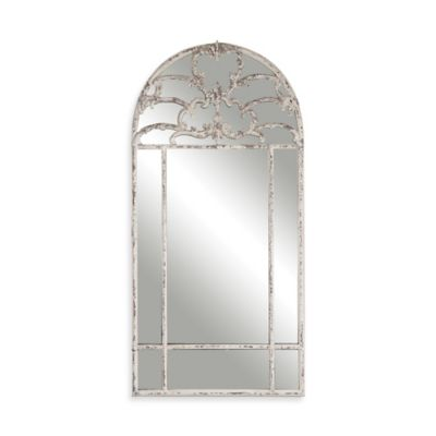 Uttermost 30-Inch x 60.25-Inch Gavarresa Arched Metal Mirror in Antiqued White