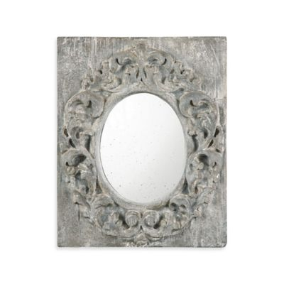 Uttermost 19.5-Inch x 23.5-Inch Valmorea Rectangular Antiqued Mirror in Grey
