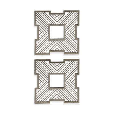 Uttermost Vistula 20-Inch Square Mirrors in Antique Silver (Set of 2)