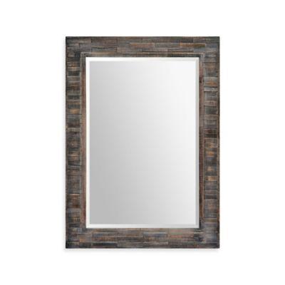 Ren-Wil 30-Inch x 42-Inch Liuhana Rectangular Mirror in Black/Brown
