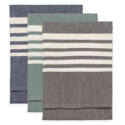 Bali Boutique Style Striped Kitchen Towel in Emerald