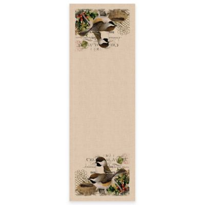 Heritage Lace® Winter Garden Chickadees 48-Inch Table Runner in Natural
