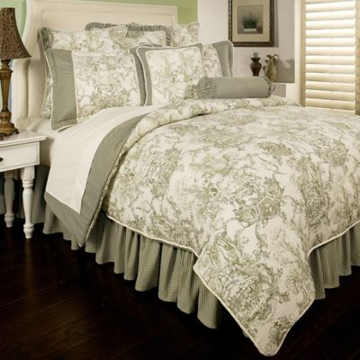 Sherry Kline Country Toile Reversible Queen Comforter Set in Sage Green